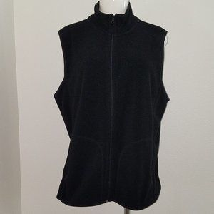 Old Navy Solid Black Fleece Vest Full Zip XL